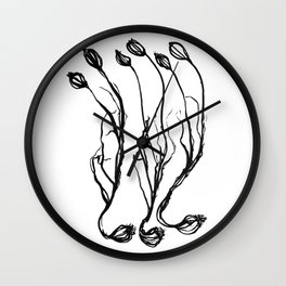 Nature illustration in black ink 3 Wall Clock