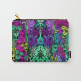 Sugar Skull and Girly Corks (psychedelic, abstract, halftone, op art) Carry-All Pouch