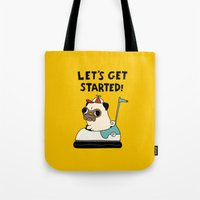 pug Tote Bags featuring PUG! by Jarvis Glasses