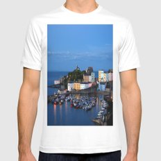 TENBY HARBOUR. PEMBROKESHIRE.WALES. MEDIUM Mens Fitted Tee White