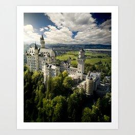 Aerial above Neuschwanstein Castle Art Print