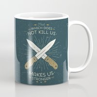 nietzsche Mugs featuring That which does not kill us makes us stronger by Beardy Graphics