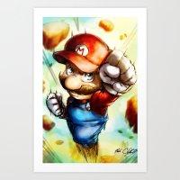 super mario Art Prints featuring Super Mario by markclarkii
