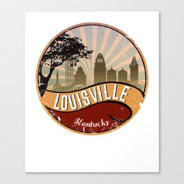 Louisville City Skyline Design Kentucky Retro Vintage Canvas Print