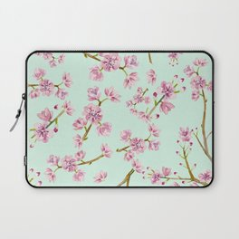 Spring Flowers - Mint and Pink Cherry Blossom Pattern Laptop Sleeve