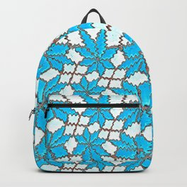 Spanish Tile Design In White And Turquoise Backpack