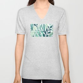 UniCorn Leaves Pattern Unisex V-Neck