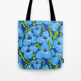 Blue Puya Flowers Botanical Floral Pattern Tote Bag