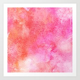 Abstract blush pink lilac orange hand painted watercolor Art Print