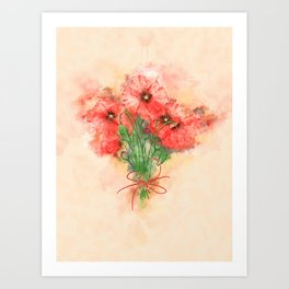 Red Poppies #floral #watercolor #society6 Art Print