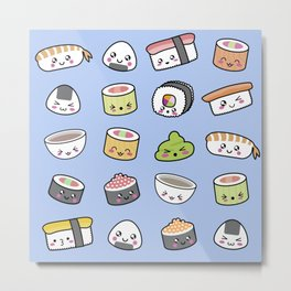 Happy kawaii sushi pattern Metal Print