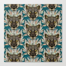 native mountain lion blue Canvas Print