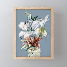 Hummingbird with Flowers Framed Mini Art Print