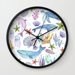 under the sea watercolor Wall Clock