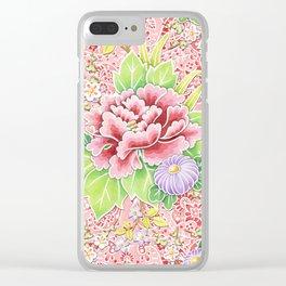 Pink Paisley Kimono Bouquet Clear iPhone Case