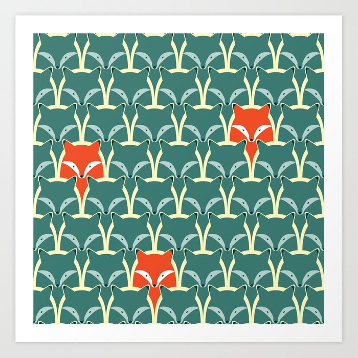 Seamless pattern with foxes and wolves Art Print