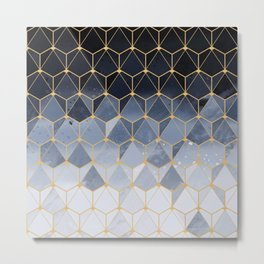 Blue gold hexagonal pattern Metal Print