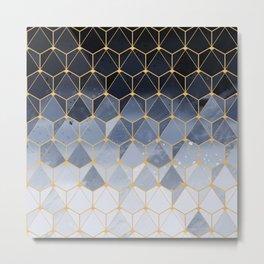 Blue gold hexagonal pattern Metal Print