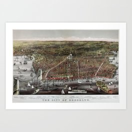 Vintage Pictorial Map of Brooklyn NY (1879) Art Print