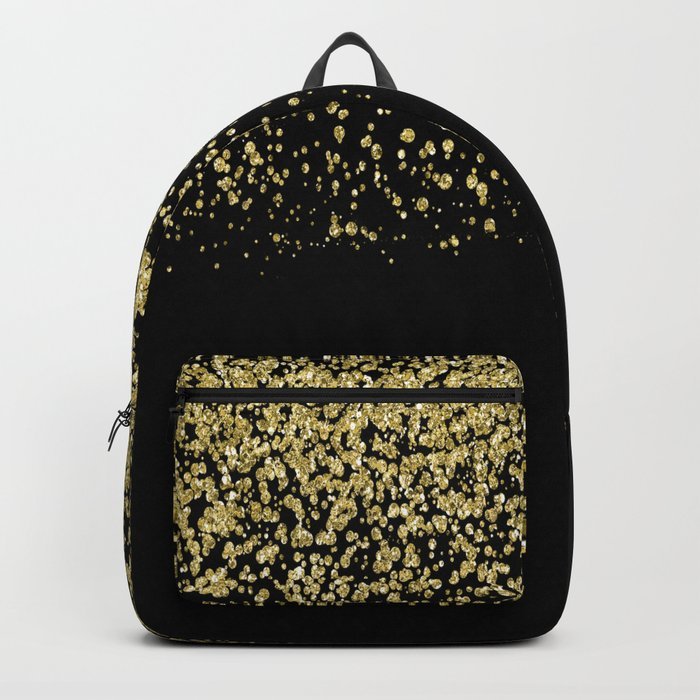 Sparkling gold glitter confetti on black background- Luxury pattern Backpack