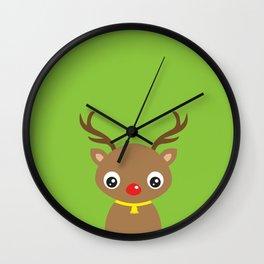 Red Nosed Reindeer Wall Clock