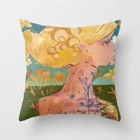 blondie Throw Pillows featuring Blondie by Bailey Saliwanchik