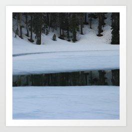Snow. Stripes. Fogged Mirror. Art Print