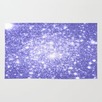 lavender Area & Throw Rugs featuring Lavender Periwinkle Sparkle Stars by WhimsyRomance&Fun