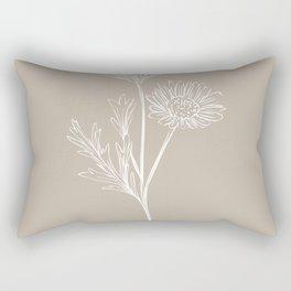 6-2016-2, Light & Dark Beige, Floral Botanical Flower art, Plant Leaves, Boho decor, Rectangular Pillow