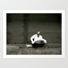 Reading Newspaper (Travel & India) Art Print