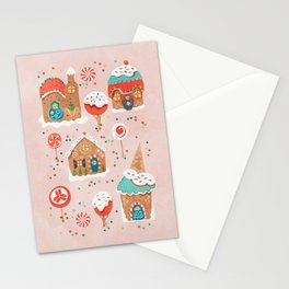 Gingerbread Candy Land Gingerbread Candy Landon pink Stationery Cards