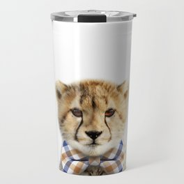 Baby Cheetah With Bow Tie, Baby Animals Art Print By Synplus Travel Mug