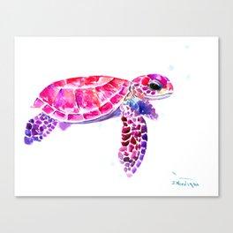 Purple Turtle Bright Pink, purple blue turtle illustration, children room decor Canvas Print