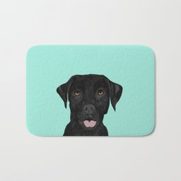 Black Labrador pet portrait dog breed art print cute dog gifts for black lab owners Bath Mat