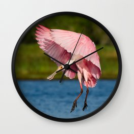 Spoonbill in Flight Wall Clock