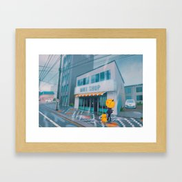 Cerulean Bike shop - Kanto in real life Framed Art Print