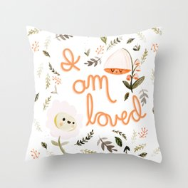 I Am Loved Botanical Print Throw Pillow