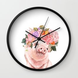 Lovely Baby Pig with Flowers Crown Wall Clock