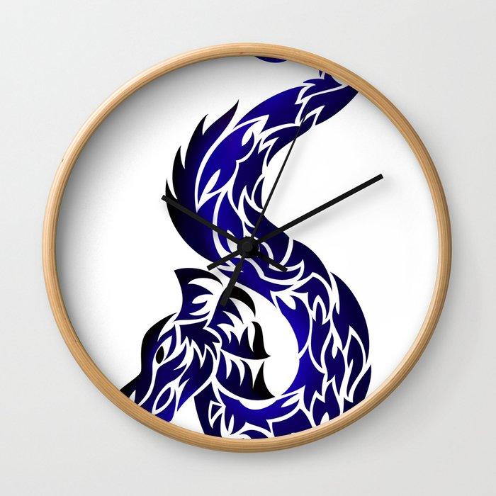 Blue Twisted Dragon Wall Clock
