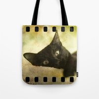 kitty Tote Bags featuring Kitty by SensualPatterns