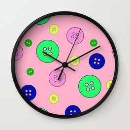 Abstract colorful buttons seamless pattern, textile, surface pattern Wall Clock