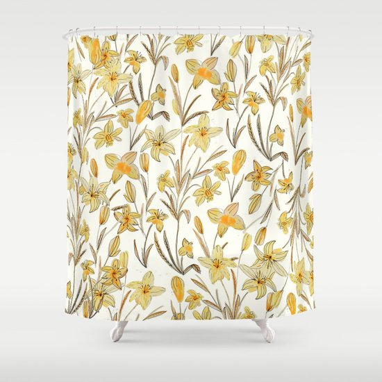 Yellow Floral Pattern Shower Curtain By Chotnelle