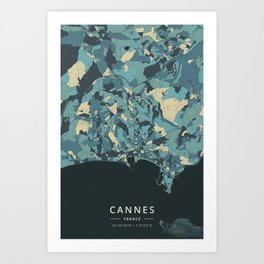 Cannes, France - Cream Blue Art Print