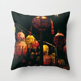 Korean Lanterns Throw Pillow