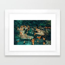 Flamingo Creek #flamingo #tropical #illustration Framed Art Print