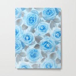Painted Roses in Blue & Grey Metal Print