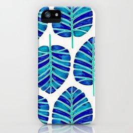 Elephant Ear Alocasia – Blue & Turquoise Palette iPhone Case