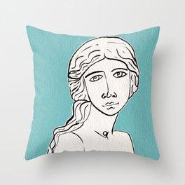 The little mermaid statue Throw Pillow