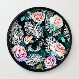 Dark pattern of flowers and paisley Wall Clock