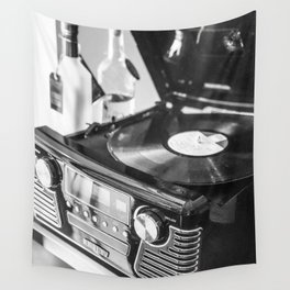 Record Player, Black and White, Vintage Vinyl Record Player  Wall Tapestry
